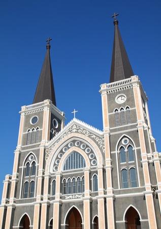 Catholic church with clear blue sky at Chantaburi province, Thailand photo