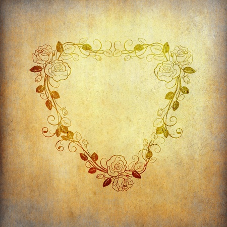 Grunge paper background with vintage flower shape as heart photo