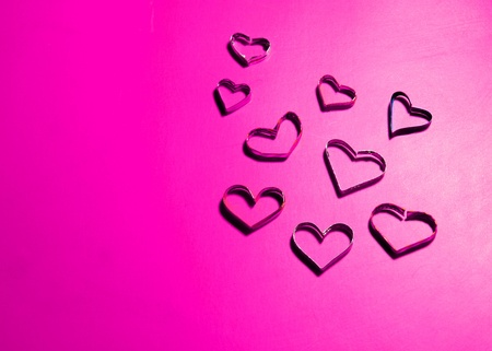 heart shapes on pink paper for valentine photo
