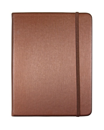 silk brown color cover note book isolated on white background Stock Photo
