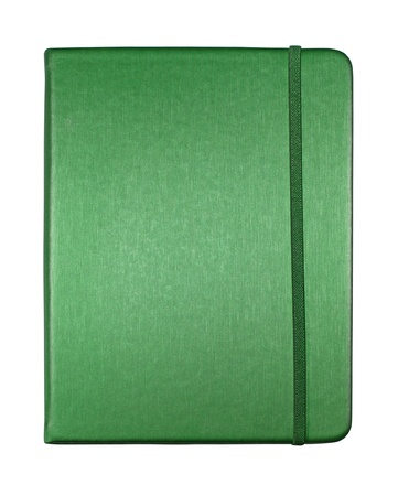 silk green color cover note book isolated on white background photo