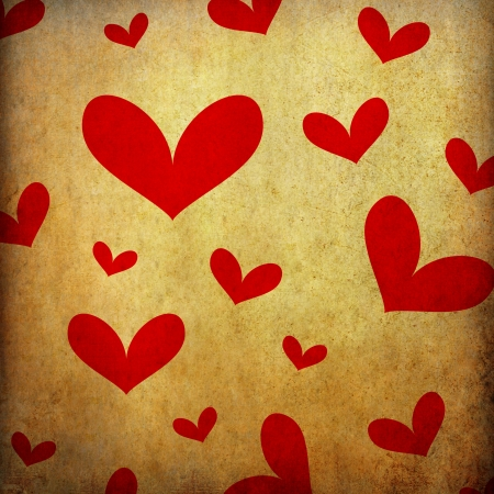 wall paper texture: Heart shape on old paper background  Stock Photo