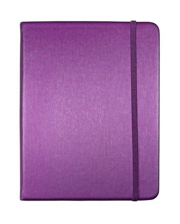 note book: silk purple color cover note book isolated on white background
