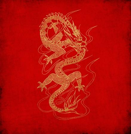 rust red: Drag�n chino en el fondo antiguo de papel rojo