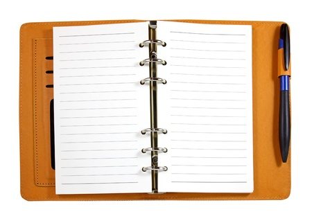 organizer page: Brown leather binder notebook with pen isolated on white