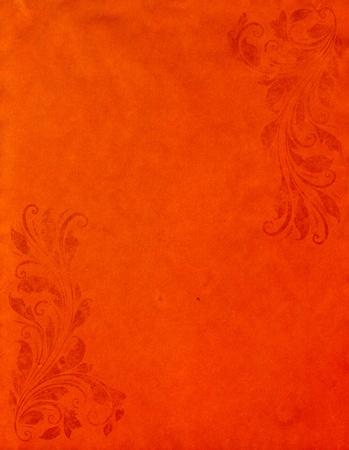 old grunge orange paper background with vintage victorian style  photo