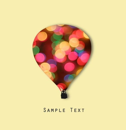 airstream: Balloon shape and abstract bokeh with sample text