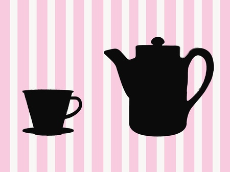 Coffee time with pink striped background photo