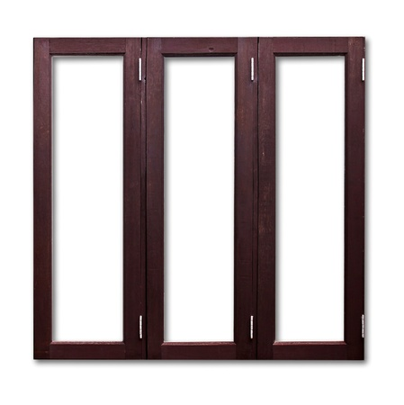 Isolated wooden window frame photo