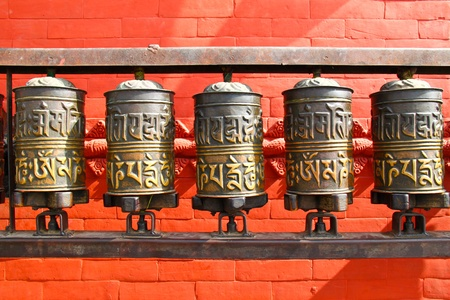 Buddhist prayer wheels, Nepal