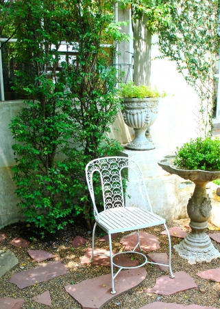 White chair in the garden Stock Photo - 13618781