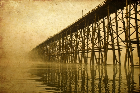 structure of longest wooden bridge in old image photo