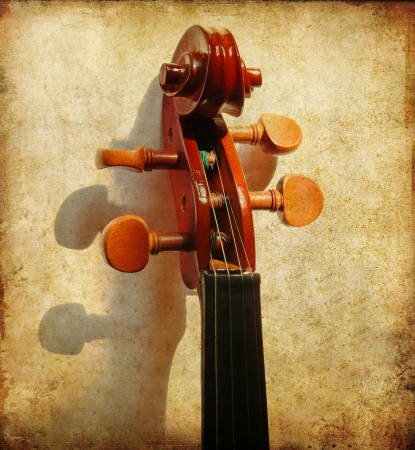 Details of violin head on grunge background photo