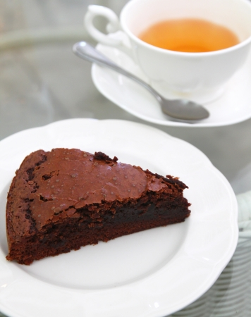 Sweet brownie with hot tea  photo