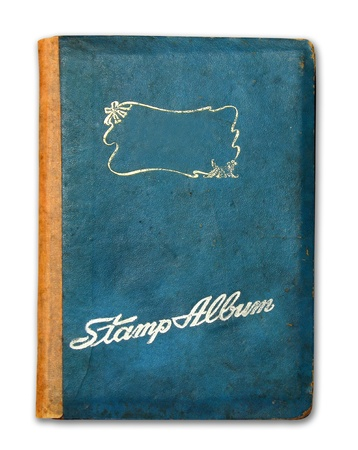 old book cover: Cover of stamp album book isolated on white background Stock Photo