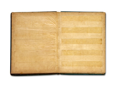 Old blank stamp book album isolated on white background photo