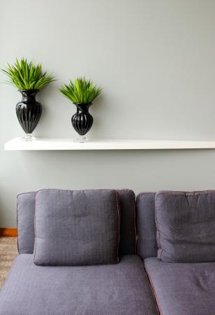 Planta verde en florero negro con un cómodo sofá