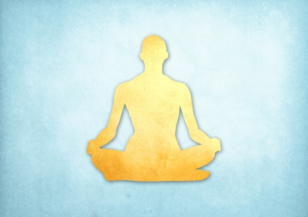 Abstract meditating people from grunge paper background photo