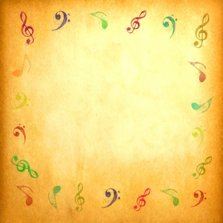composer: Music note on vintage paper for background