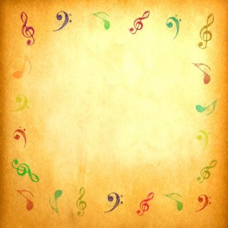 partition musique: Note de musique sur papier de cru pour le fond Banque d'images