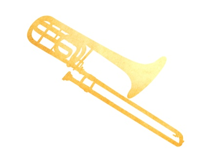 antiqued: Grunge image of trombone from old paper isolated on white