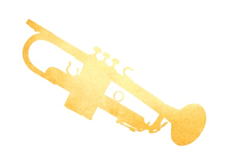 antiqued: Grunge image of trumpet from old paper isolated  on white