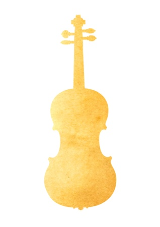 antiqued: Grunge image of violin from old paper isolated on white