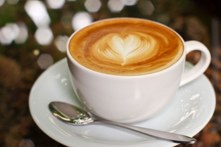 hot love: Cappuccino or latte coffee with heart shape