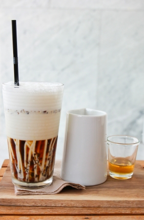 coffee jelly: Jelly coffee for drink with milk and syrup Stock Photo
