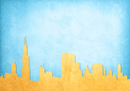 yellow roof: Grunge image of cityscape from old paper  Stock Photo