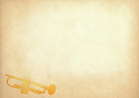 antiqued: Grunge image of trumpet from old paper with copy space Stock Photo
