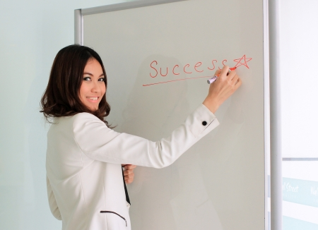 Smiling asian businesswoman writing success in a whiteboard in office  photo
