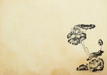 Eski ka??t �zerinde Art Nouveau tarz?nda lotus �i�ekleri