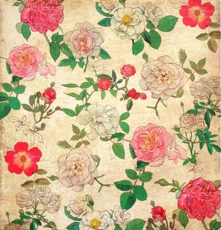 Floral wallpaper millésime pour le fond Banque d'images - 15974911