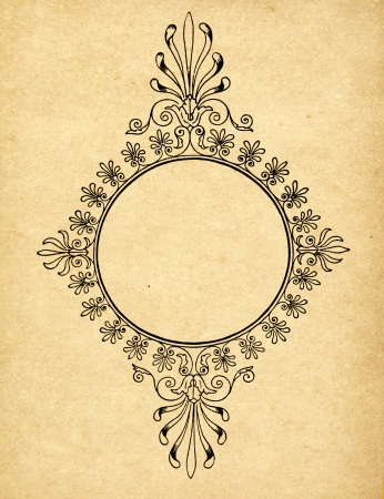retro grunge: Vintage circle frame on old paper with copy space