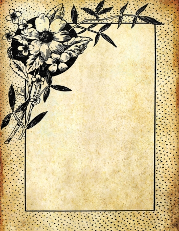 old diary: Vintage flower frame on old grunge paper