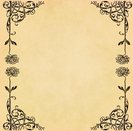 old diary: Illustration of vintage flower on old grunge paper