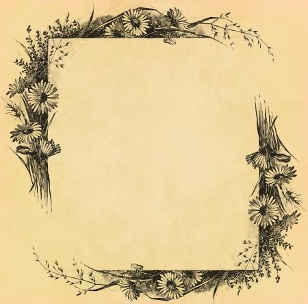 오래 된 종이에 빈티지 꽃 프레임