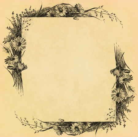 Vintage flower frame on old paper
