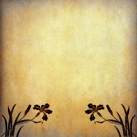 Illustration of flowers on old paper with copy space illustration