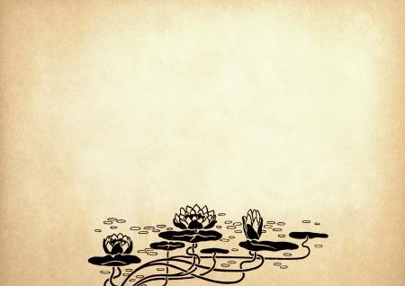 Иллюстрация из цветов лотоса на старой бумаге с копией пространства