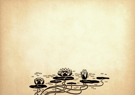 Illustration of lotus flowers on old paper with copy space Stock Photo