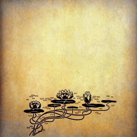 복사본 공간에 오래 된 종이 연꽃의 그림 스톡 콘텐츠