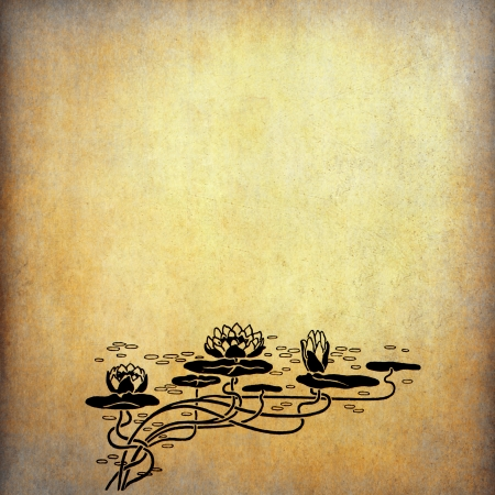 lotus blossom: Illustration of lotus flowers on old paper with copy space Stock Photo