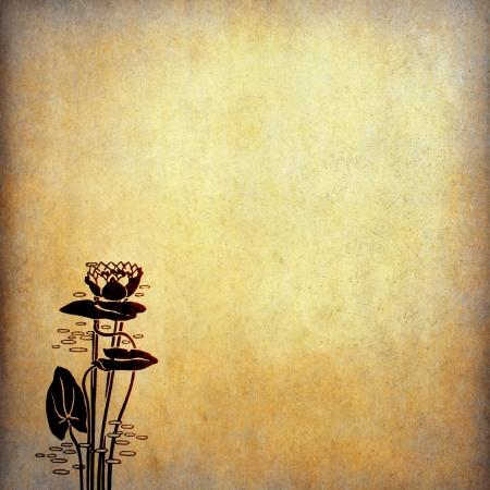 flores chinas: Ilustraci�n de las flores de loto en papel viejo con copia espacio