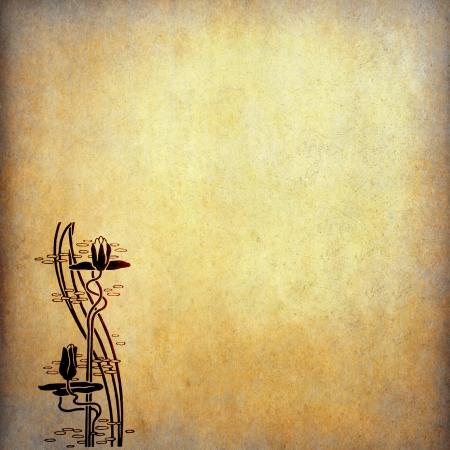 Minh họa hoa sen trên giấy cũ với không gian bản sao Kho ảnh