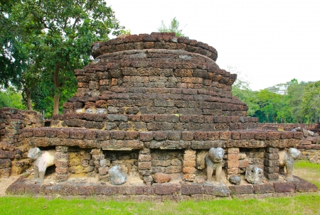 The ruins of the temple in history park sisatchanalai, Sukhothai photo