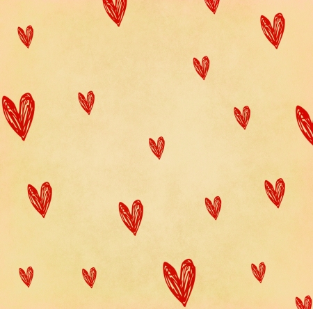 old diary: Handwriting heart shape on old paper Stock Photo