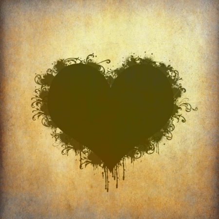 Heart frame stained on old grunge paper photo