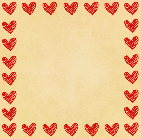 old diary: Handwriting heart frame on old paper